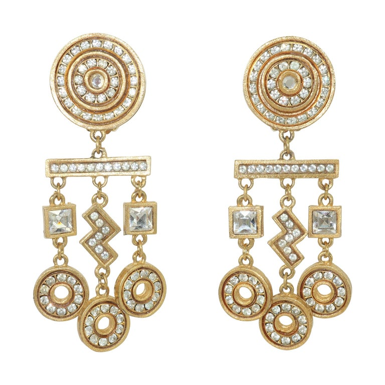 Gerard Yosca Art Deco Revival Gold & Rhinestone Earrings For Sale