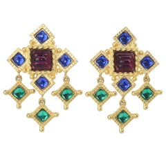 Gerard Yosca Gold Earrings With Cabochon Glass Stones