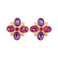 Gerard Yosca Gold Tone Pink, Red & Purple Earrings, 1980's