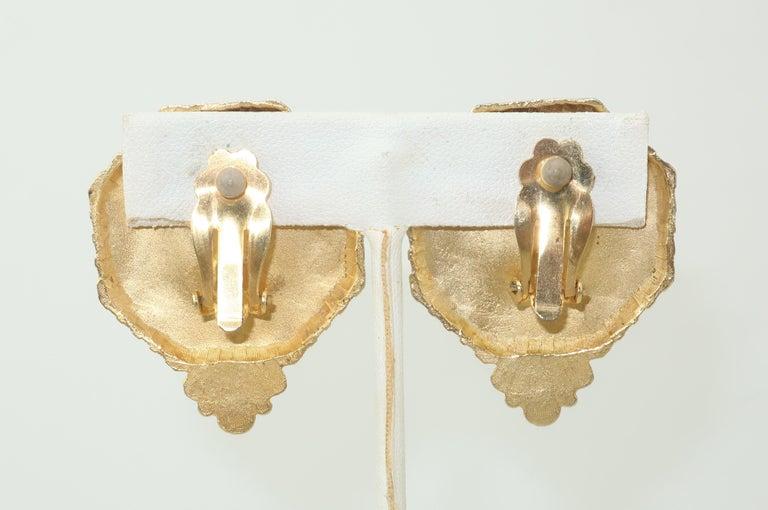 Classical Roman Gerard Yosca Neoclassical Emerald Green Glass Cameo Earrings, 1980's