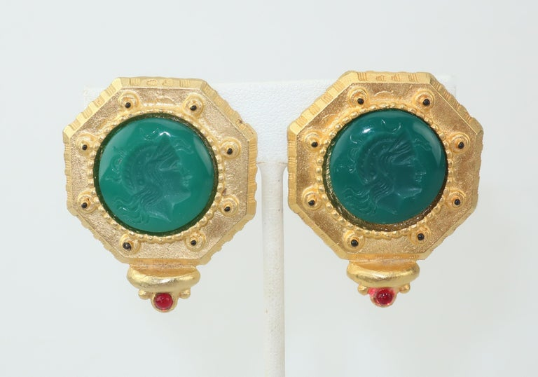 Gerard Yosca Neoclassical Emerald Green Glass Cameo Earrings, 1980's In Good Condition In Atlanta, GA