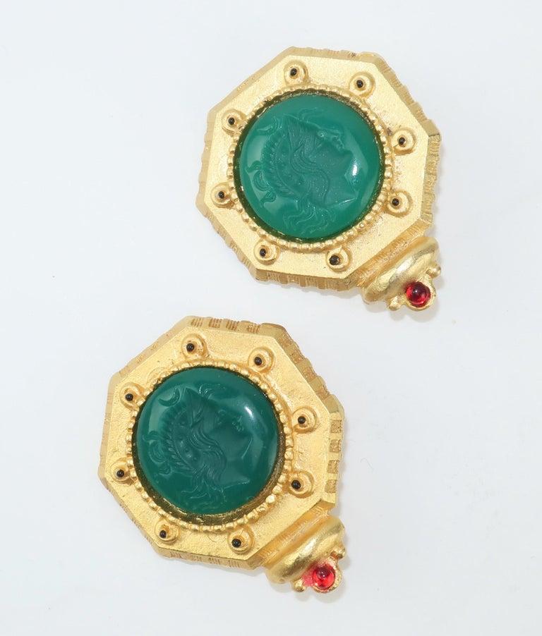Women's Gerard Yosca Neoclassical Emerald Green Glass Cameo Earrings, 1980's