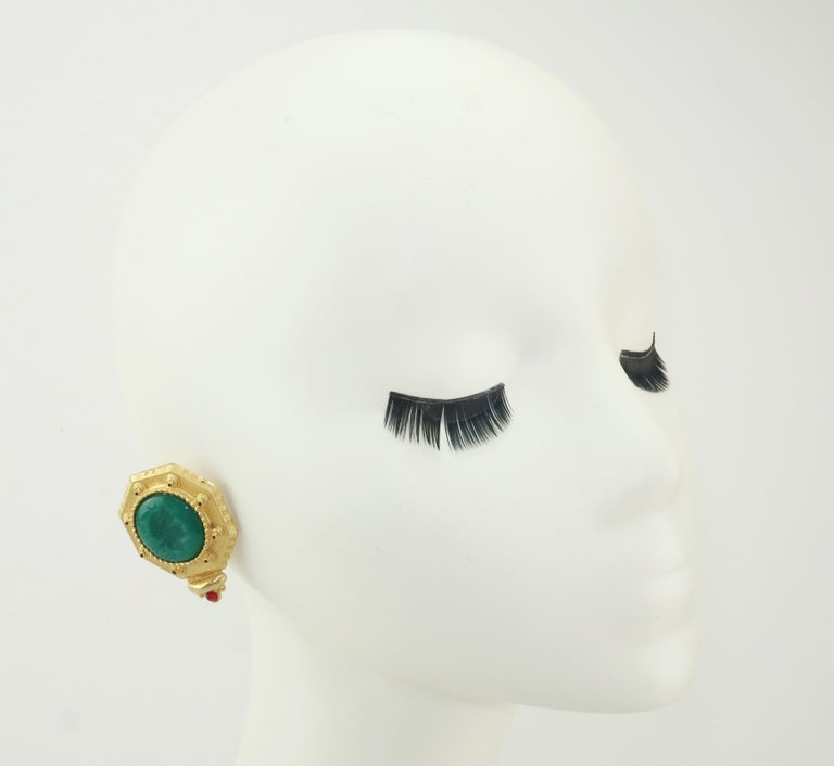 Gerard Yosca Neoclassical Emerald Green Glass Cameo Earrings, 1980's 4