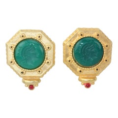 Gerard Yosca Neoclassical Emerald Green Glass Cameo Earrings, 1980's