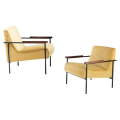 Gerardo de Barros Pair of Armchairs, Jacaranda Wood & Yellow Velvet, Brazil 1955