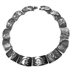 Gerardo Lopez Mexican 1950s Sterling Silver Aztec Deity Necklace