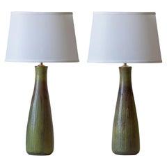 Gerd Bøgelund / Royal Copenhagen, Pair of Danish Solfatara Glaze Stoneware Lamps