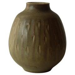 Gerd Bogelund for Royal Copenhagen Ceramic Cream Coloured Vase, 1940s