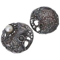 Gerda Flockinger 1960s Brutalist Silver Cufflinks