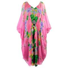 Gerda Gregor Vintage 1980s Pink Silk Chiffon Kaftan Dress