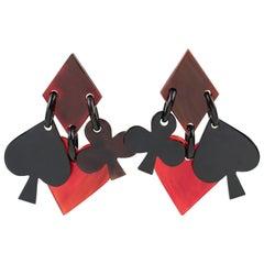 Monies Dangle Red Black Horn Clip Earrings