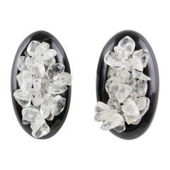 Gerda Lyngaard for Monies Clip on Earrings Natural Horn & Quartz Stones