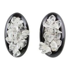 Monies Horn and Quartz Clip Earrings