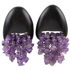 Gerda Lyngaard for Monies Dangle Clip Earrings Ebony Wood & Amethyst Stones