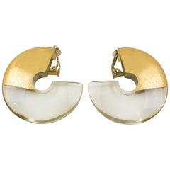 Monies Acrylic Gold Foil Hoop Clip Earrings