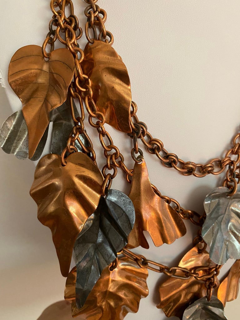 Gerda  Lynggaard Bronze and Silver Metal Leaves Three Strands Necklace In Good Condition For Sale In Beverly Hills, CA