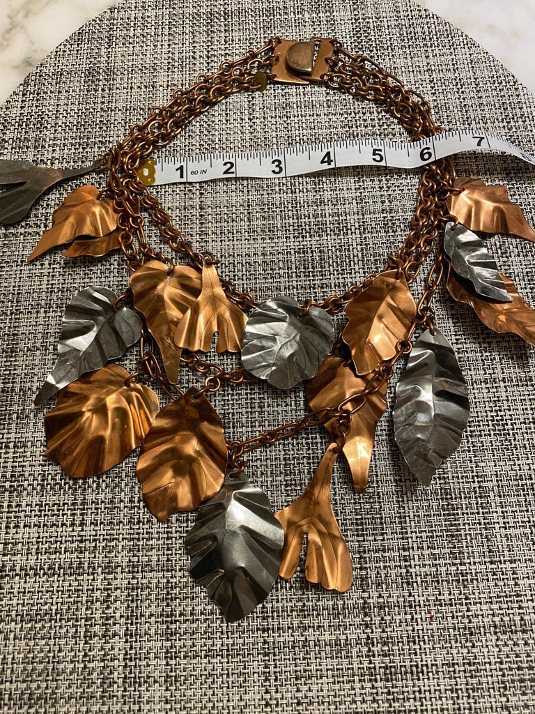 Women's or Men's Gerda  Lynggaard Bronze and Silver Metal Leaves Three Strands Necklace For Sale