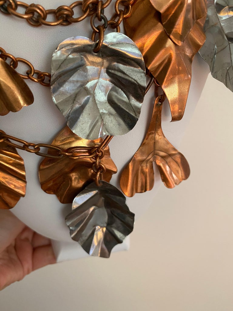 Gerda  Lynggaard Bronze and Silver Metal Leaves Three Strands Necklace For Sale 2