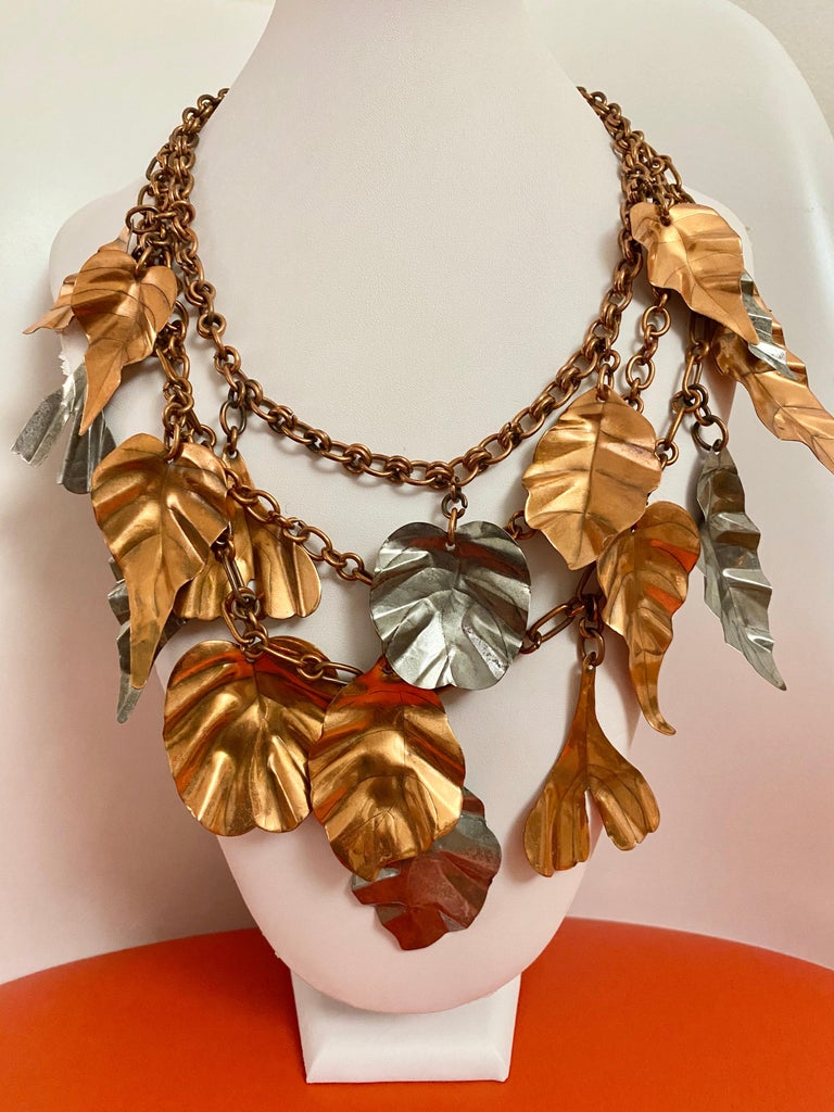 Gerda  Lynggaard Bronze and Silver Metal Leaves Three Strands Necklace For Sale 5