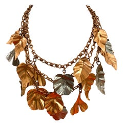 Gerda  Lynggaard Bronze and Silver Metal Leaves Three Strands Necklace
