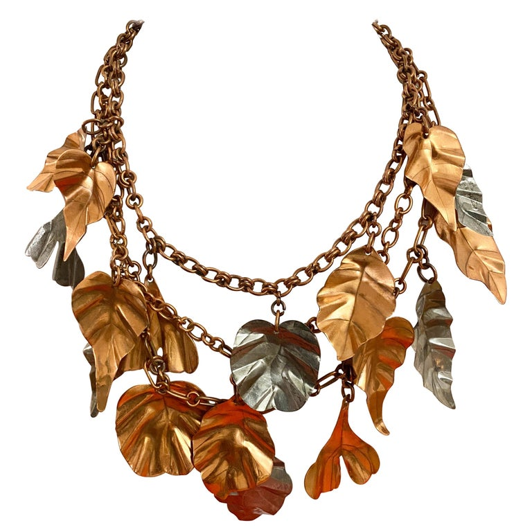 Gerda  Lynggaard Bronze and Silver Metal Leaves Three Strands Necklace For Sale