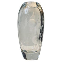 Gerda Strömberg Engraved Fish Vase in Crystal for Strömbergshyttan, 1940s