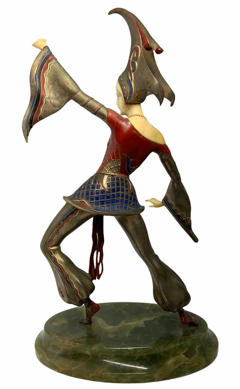 Art Deco Gerdago Bronze and Ivory Enamel Figure of a Dancer For Sale