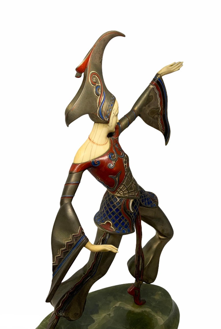 Austrian Gerdago Bronze and Ivory Enamel Figure of a Dancer For Sale