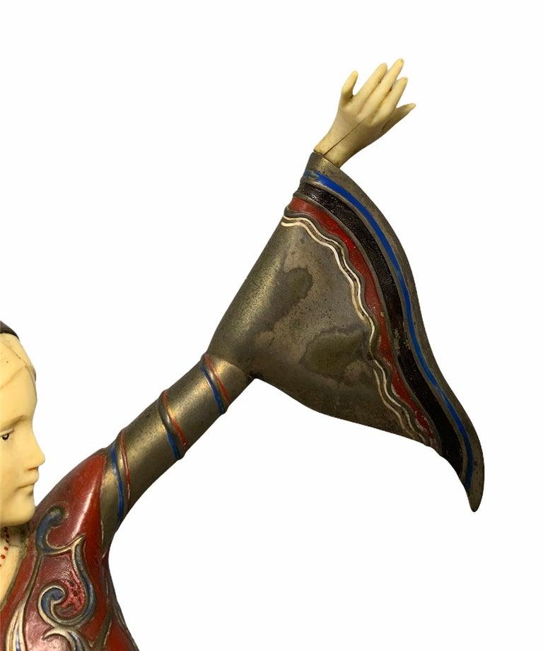 Molded Gerdago Bronze and Ivory Enamel Figure of a Dancer For Sale