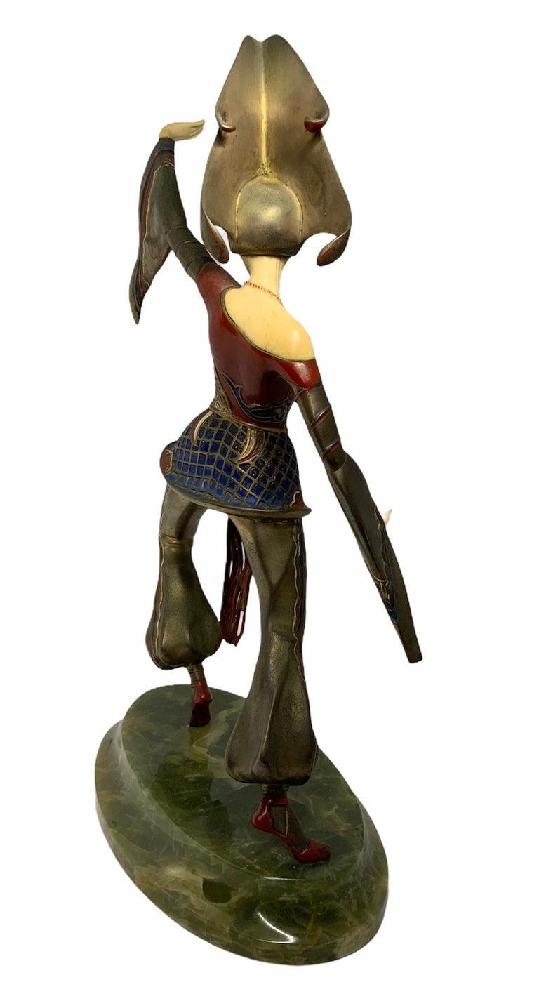 20th Century Gerdago Bronze and Ivory Enamel Figure of a Dancer For Sale