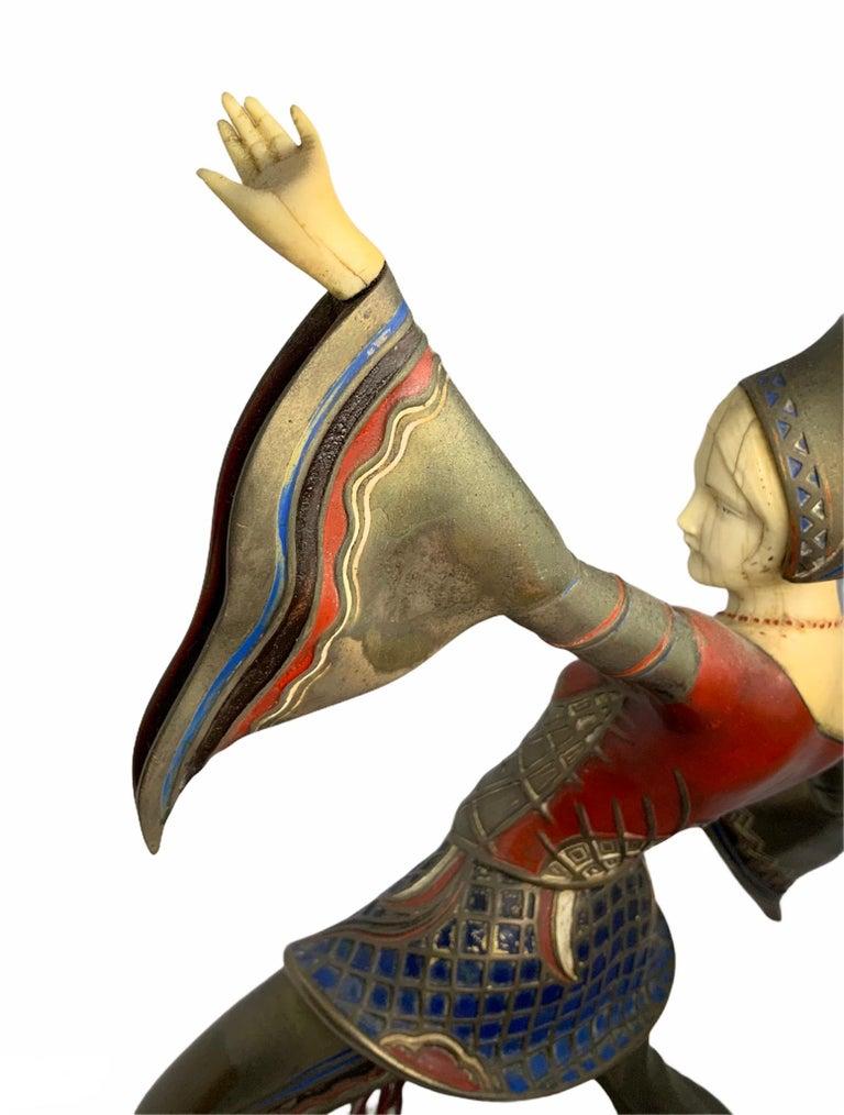 Gerdago Bronze and Ivory Enamel Figure of a Dancer For Sale 1