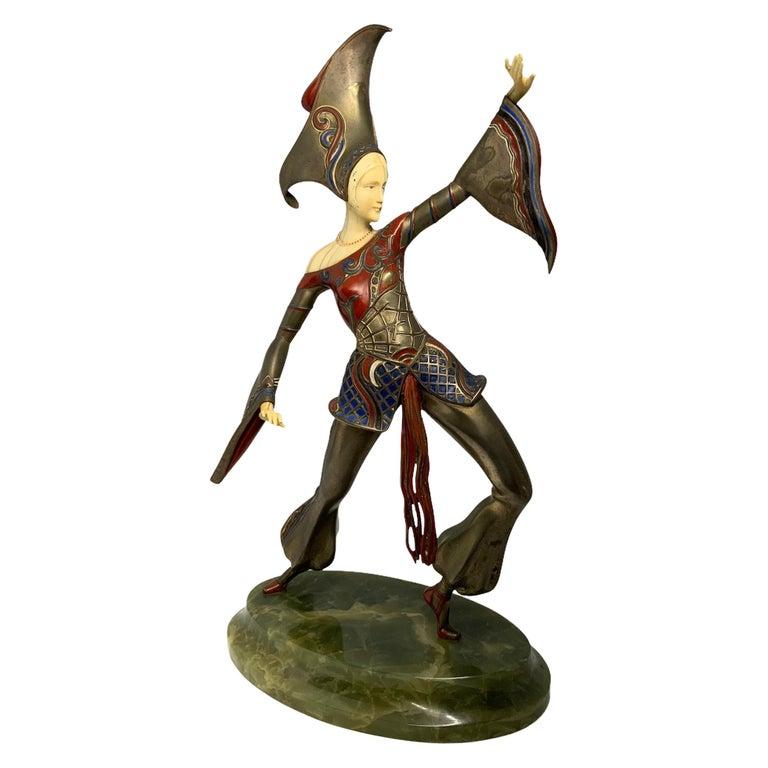 Gerdago Bronze and Ivory Enamel Figure of a Dancer For Sale