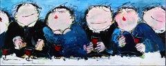 Dinner in Blue - Large Figurative Abstract Painting