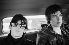 Mick Jagger and Keith Richards, in limo 1965
