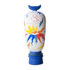Gergei Pop Handmade White Blue Colored Ceramic Vase, Spain, 2020