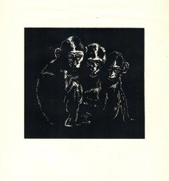 1939 Gerhard H. Bakker 'Conspirators' Modernism Black & White Woodblock