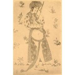 Gerhard Henning Nude Study, Erotic Etching on Japan Paper