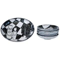 Gerhard Liebenthron, Ceramic Plate Set with Chess Theme, 1964