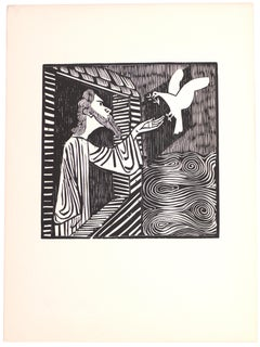 Noah With Dove - Original Woodcut on Paper by G. Marcks - 1948