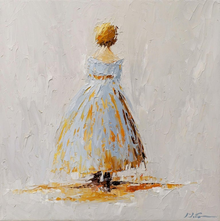 'Amelia', is a small framed Impressionist oil on canvas portrait painting created by American artist Geri Eubanks in 2019. Featuring a palette made of light grey and warm golden tones, the painting depicts a lady represented from the back, walking