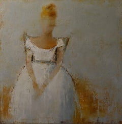 As She Poses II, Impressionist Framed Vertical Oil on Linen Figurative Painting