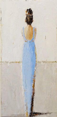 Audrey by Geri Eubanks, Vertical Framed Impressionist Oil on Canvas Portrait