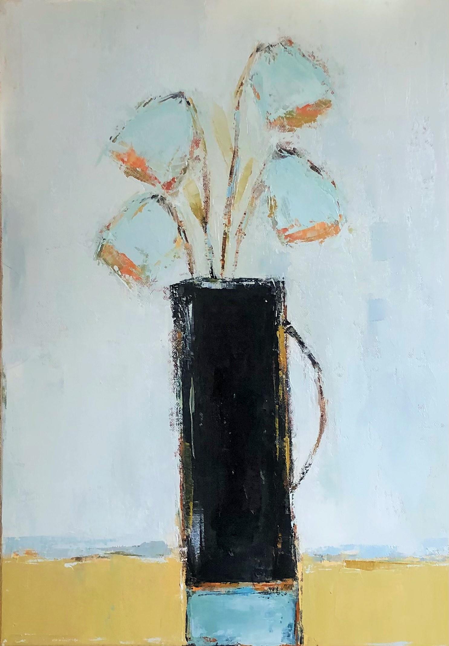 Black Vase by Geri Eubanks, Petite Floral Impressionist Oil Painting