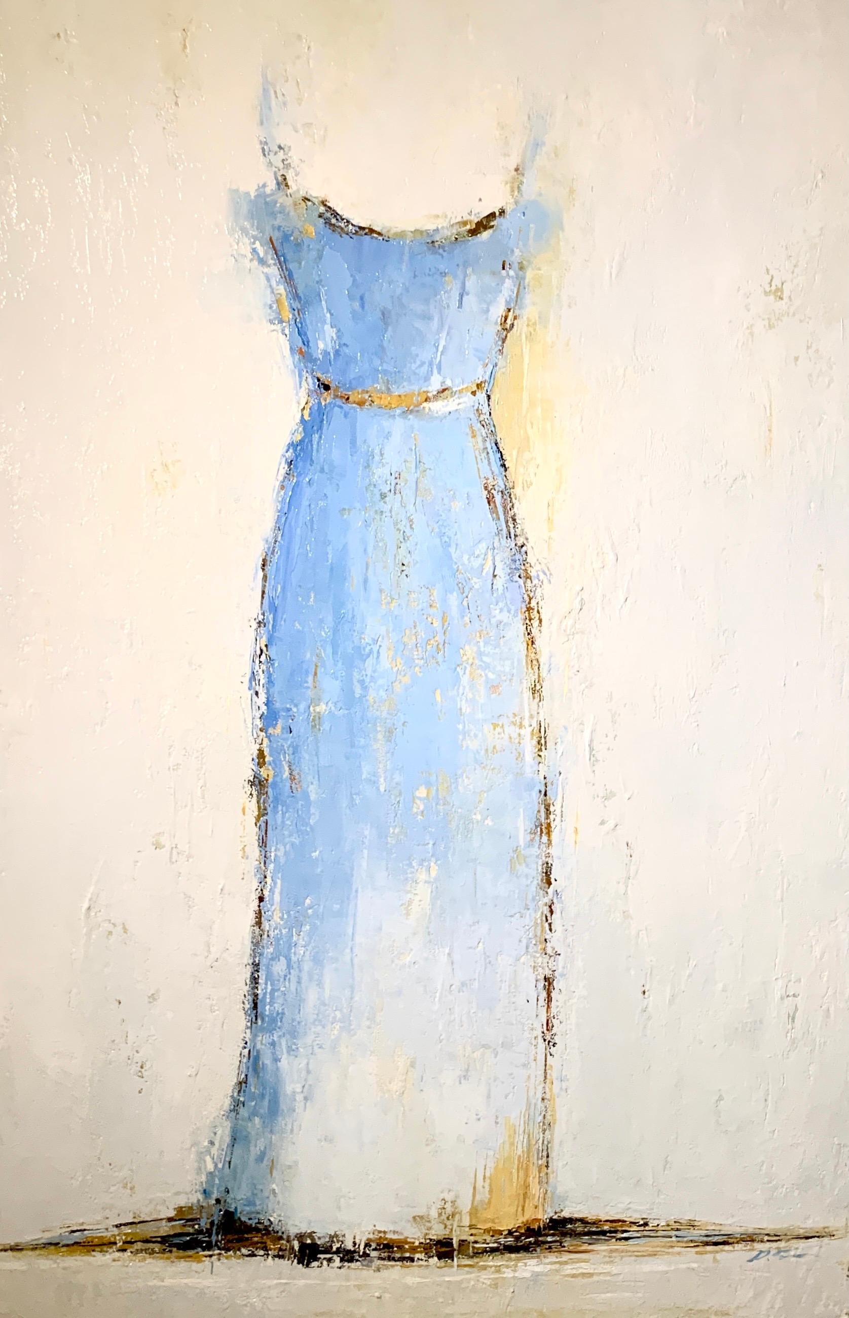 Blue and White Gown by Geri Eubanks, Framed Figure Impressionist Oil Painting