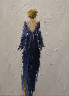 Blue Dress by Geri Eubanks 2018, Petite Impressionist Figurative Oil on Canvas