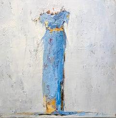 Blue Dress V by Geri Eubanks, Petite Framed Figure Impressionist Oil Painting