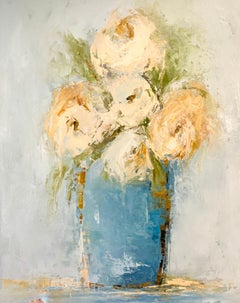 Blue Vase by Geri Eubanks, Petite Floral Impressionist Oil Painting