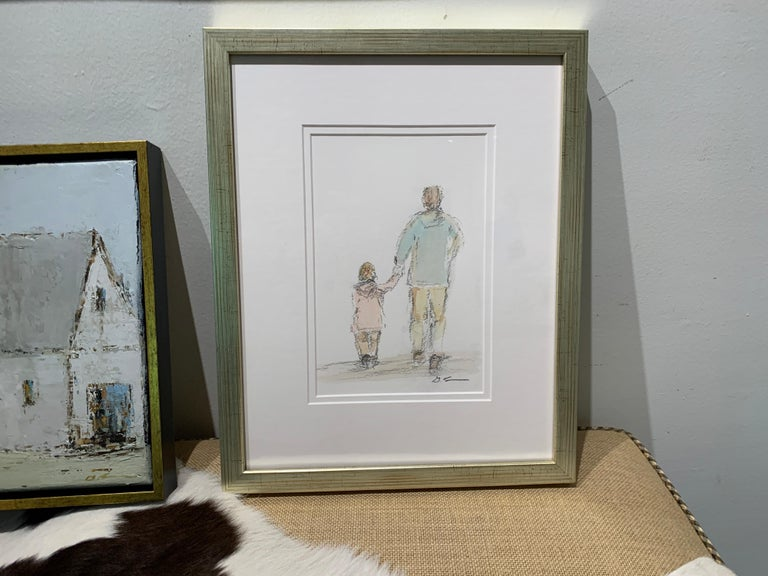 Daddy's Girl by Geri Eubanks, Petite Framed Impressionist Oil Painting For Sale 1