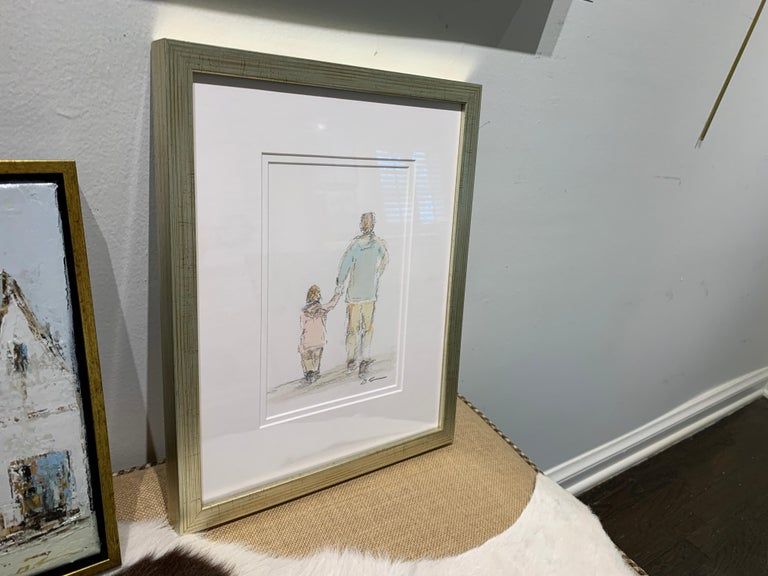 Daddy's Girl by Geri Eubanks, Petite Framed Impressionist Oil Painting For Sale 3