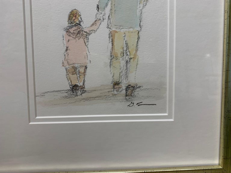 Daddy's Girl by Geri Eubanks, Petite Framed Impressionist Oil Painting For Sale 4